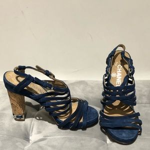 Authentic Chanel blue suede heels